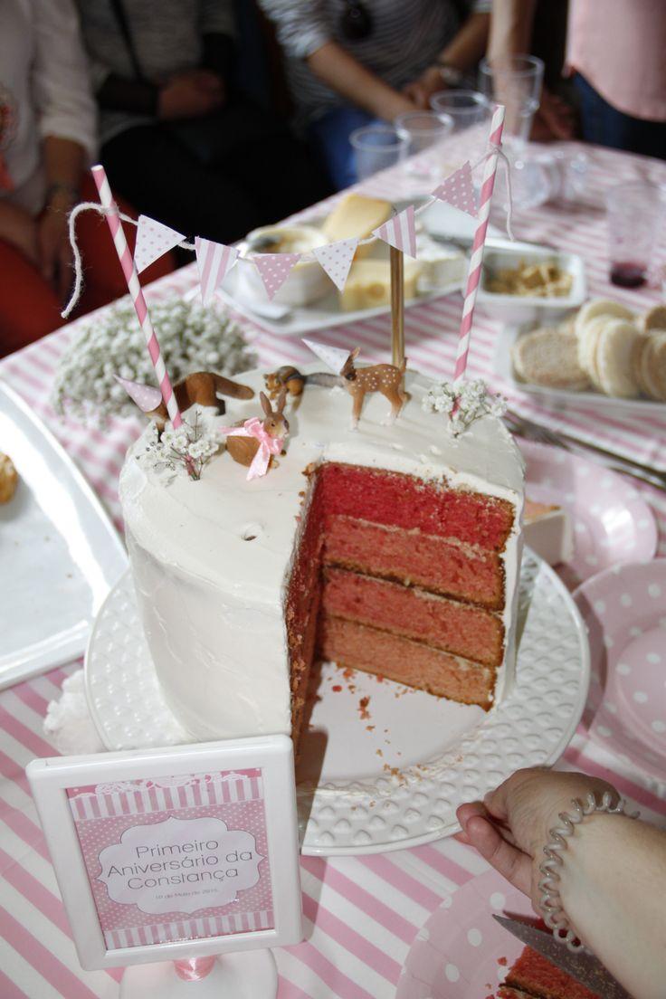 Interior do bolo de aniversário