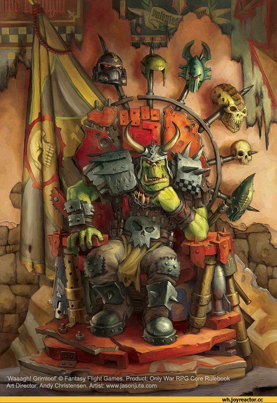 •Waaagh! Grimtoof © Fantasy. Right Games. Product: Only War RPG Core Rulebook Art Director: Andy Christensen. Artist: www.jasonjuta.com,warhammer 40000,ork,песочница,orcs,orks,фэндомы