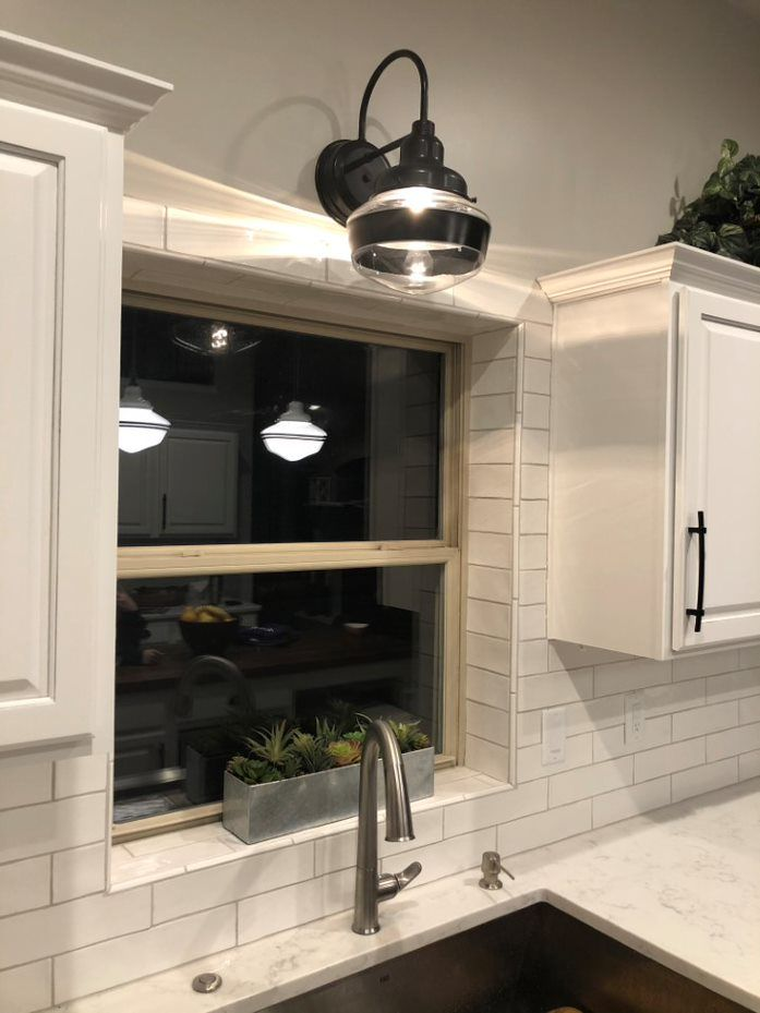 Primary Schoolhouse Sconce Kitchen Window Design Light Above Kitchen Sink Sconce Above Kitchen Sink Wall mounted light over kitchen sink