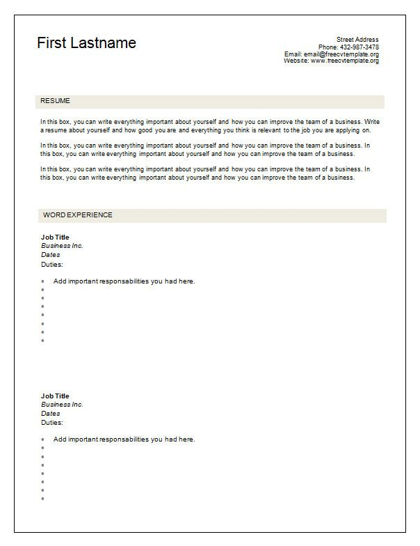 Cv Template Blank | Free printable resume templates, Resume ...