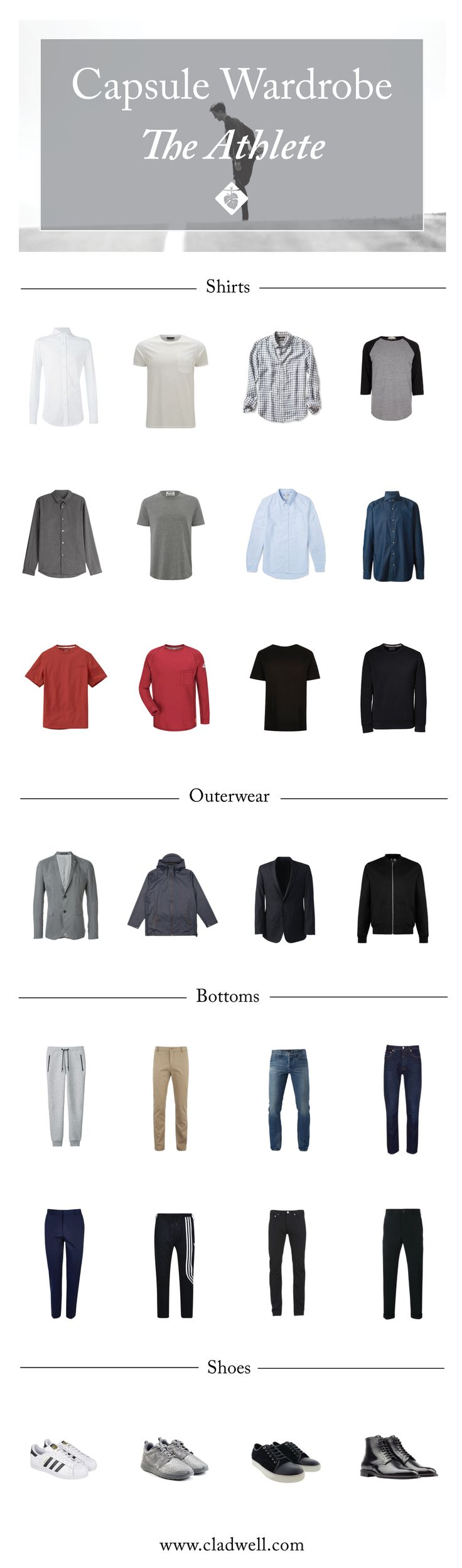 A Capsule for The Athlete - Cladwell #capsulewardrobe #menswardrobe #menscapsulewardrobe