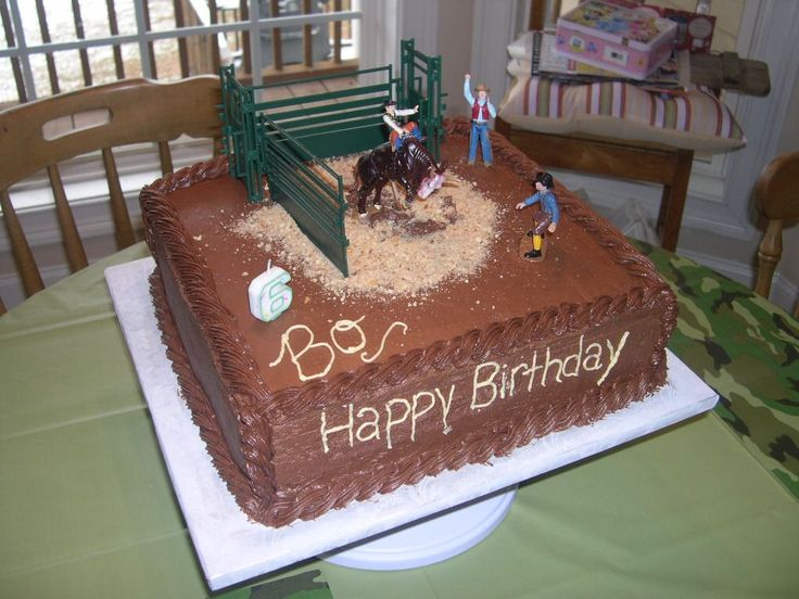 Bull Riding / Rodeo - This is my son's 6th birthday cake. He loves rodeos and bull riding.