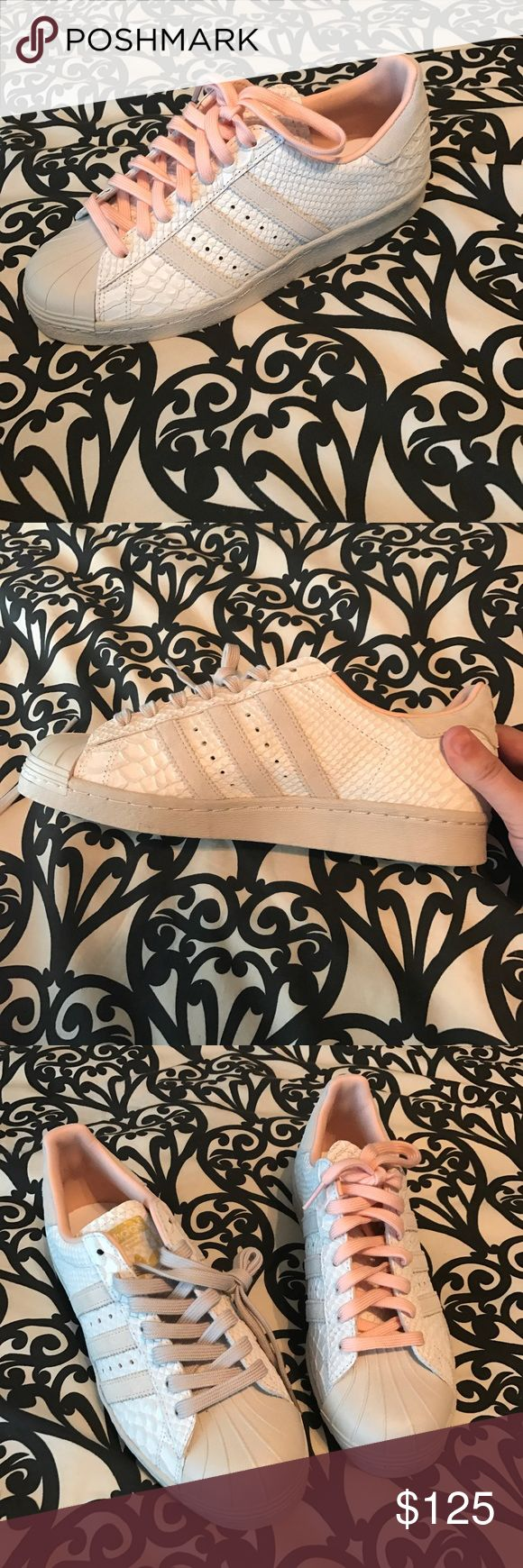 Adidas custom made shoes! Never worn! I made these online and they are too big for me! I love them tho! Two lace color options. Never worn. Adidas Shoes Sneakers