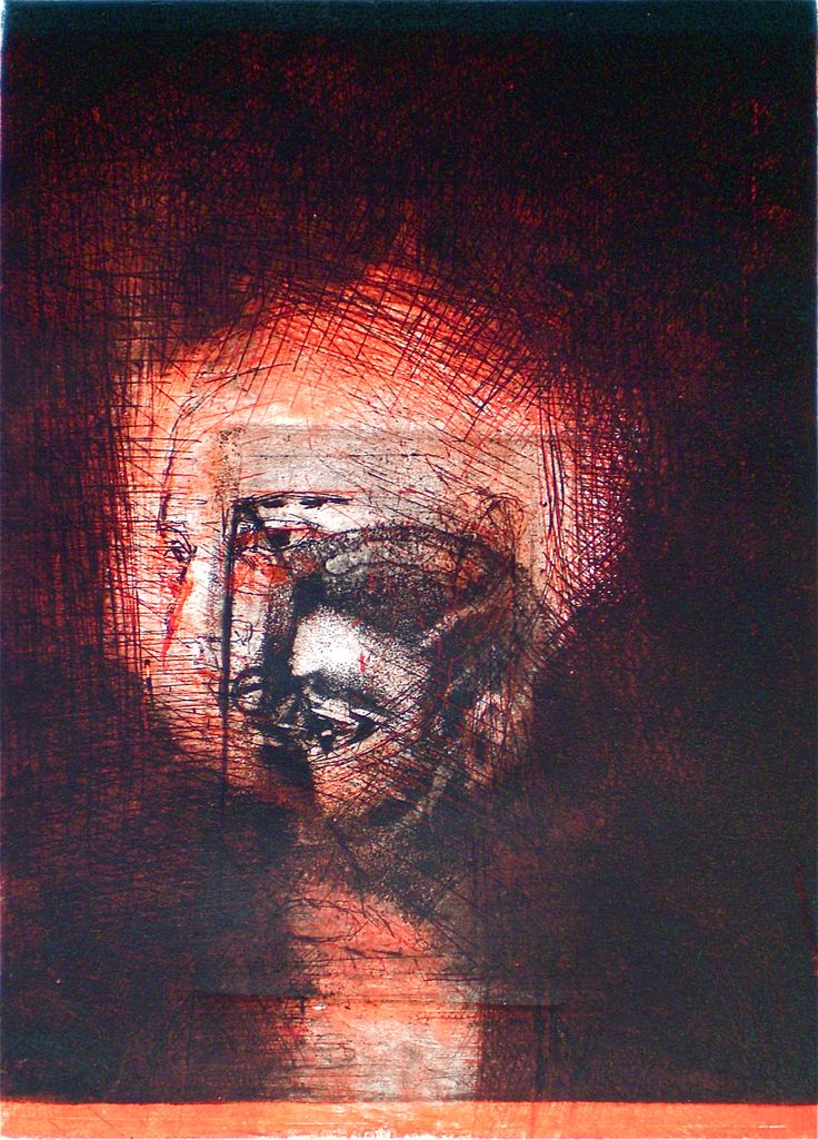 ELAINE d'ESTERRE - Risen, 1/1, 2009,  intaglio and drypoint 26x18 cm print, 36x28 cm paper by Elaine d'Esterre at http://elainedesterreart.com and http://www.facebook.com/elainedesterreart/ and http://instagram/desterreart/