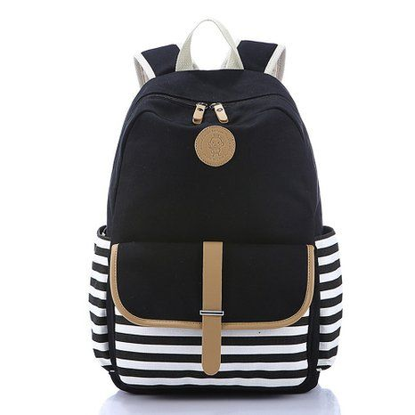 Vere Gloria Men Women Stripes Hit Colors School Double Shoulder Backpacks Bags, Large Capacity Hiking Daypacks for Girls Boys, 14 Inch Laptop Rucksacks for Middle High School College Students (black)