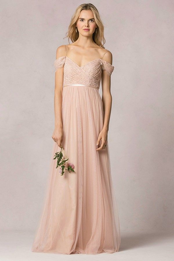 Off the shoulder blush lace bodice tulle bridesmaid dress for Wedding dress with red ribbon on waist