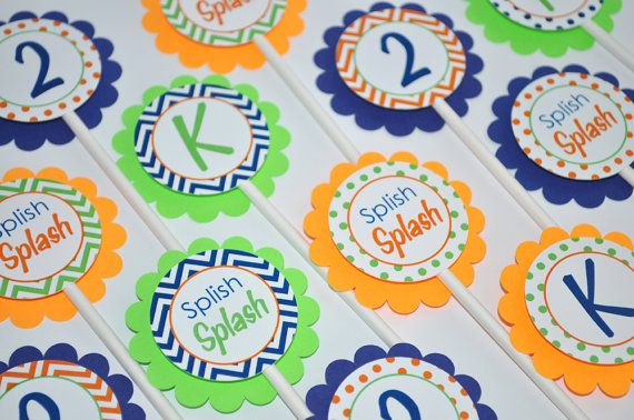 12 Boys Birthday Cupcake Toppers  Chevron by sosweetpartyshop, $10.00