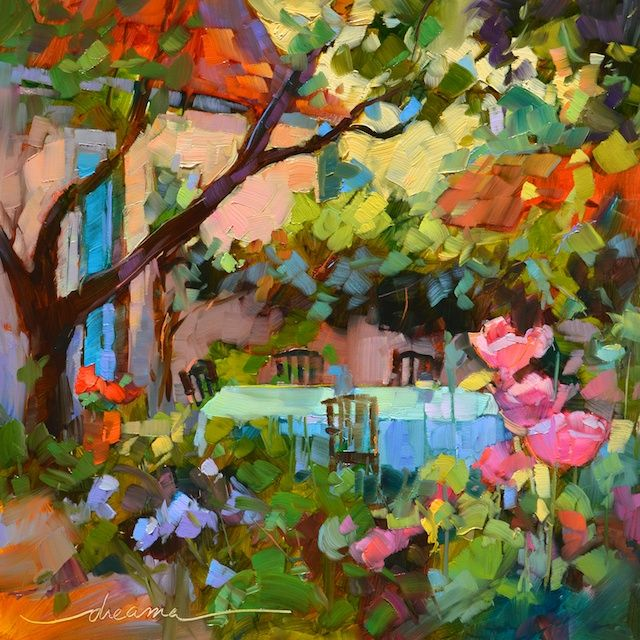 """""""Dream Time in the Garden"""" 12 x 12in oil on museum quality panel SOLD"""