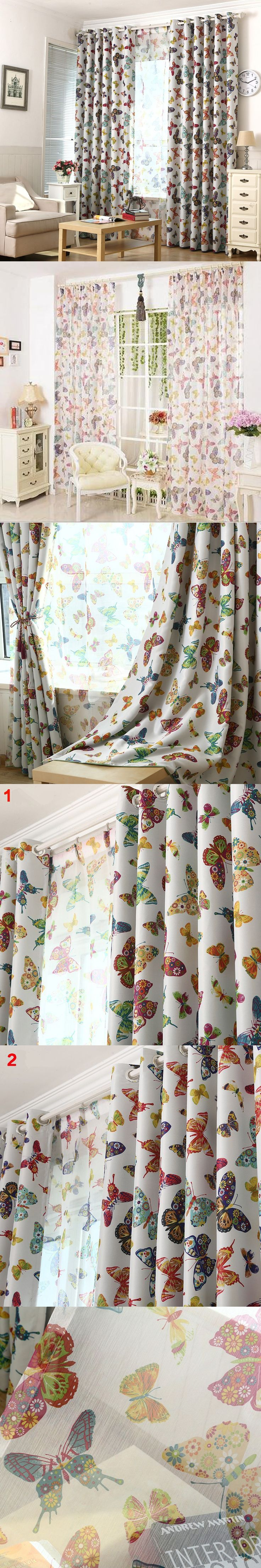 Butterfly Style Window Curtains For Boy Girl Bedroom Blackout Cloth Curtain+Voile Curtain Mediterranean Luxury Room Curtains $13.97
