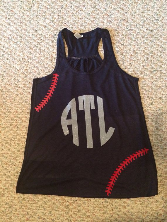This adorable Atlanta Braves tank is perfect for a summer game. Available in red, white or navy. Racerback with sheering at racerback seam