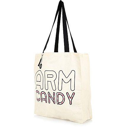 Cream arm candy print canvas shopper bag £2.00 #riverisland