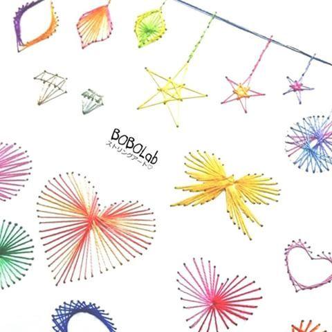 `KaWaii` colletcion♡ #stringart #embroidery #design #giftcard #BOBOLab #ストリングアート #紙刺繍 #デザイン #いろいろ #ワークショップ