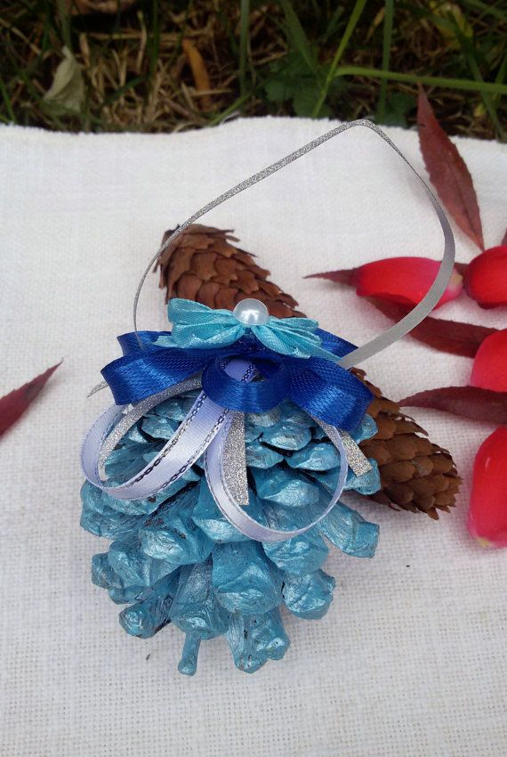 Christmas pine cone blue Christmas ornament hanging by Rocreanique