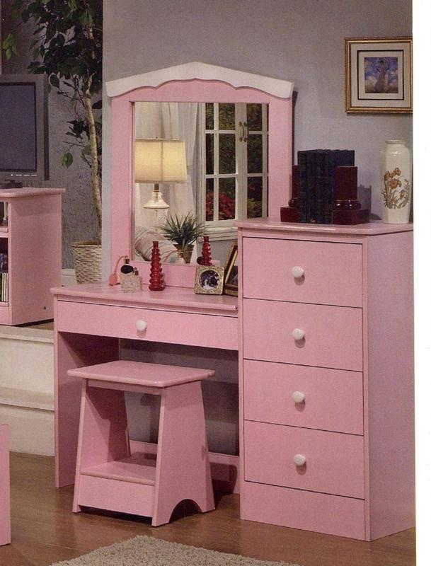 Best Princess Pink Finish Girls Kids Vanity Dresser With Mirror 400 x 300