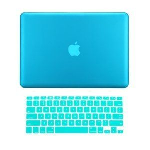 """Bright blue laptop cover:    TopCase 2 in 1 Rubberized AQUA BLUE Hard Case Cover and Keyboard Cover for Macbook Pro 13-inch 13"""" (A1278/with or without Thunderbolt) with TopCase Mouse Pad"""