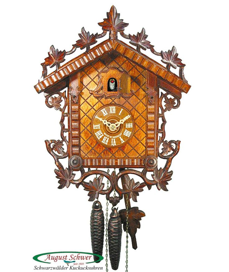 Cuckoo clock from the Black Forest with certificate of authenticity. Classical train station cuckoo clock with 1 day movement from the cuckoo clock manufacturer August Schwer.