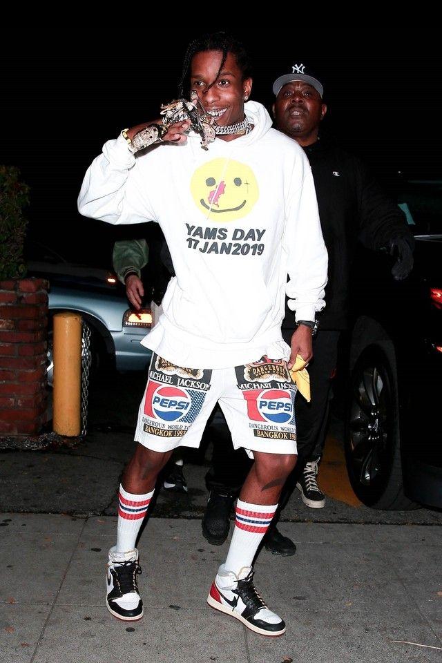 676e90ba3b5 ASAP Rocky wearing Jordan Jordan 1 Retro High Union Los Angeles, Cactus  Plant Flea Market Yams Day Hoodie
