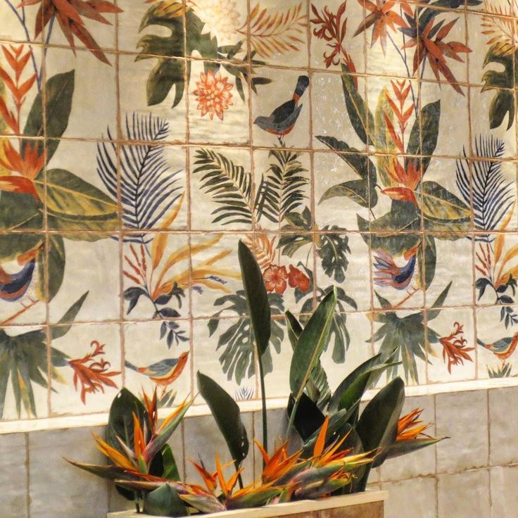 Mural Sonata 20x20 - A tropical escape representing in 36 tiles. #refreshing !! #paintingart #art #newlaunch #tile #tileofspain #feriavalencia #architecture #tileaddiction #plitka #плитка #ceramica #ceramics #interiordesign #decoration #cevisama2016 #cevisama #feriavalencia #mainzu #design #mainzuceramica #azulejos #tilelove #nofilter by mainzu_ceramica