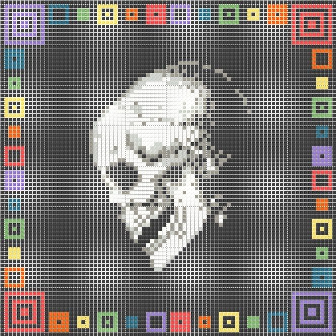 Free small skull and border cross stitch pattern | Cross ...