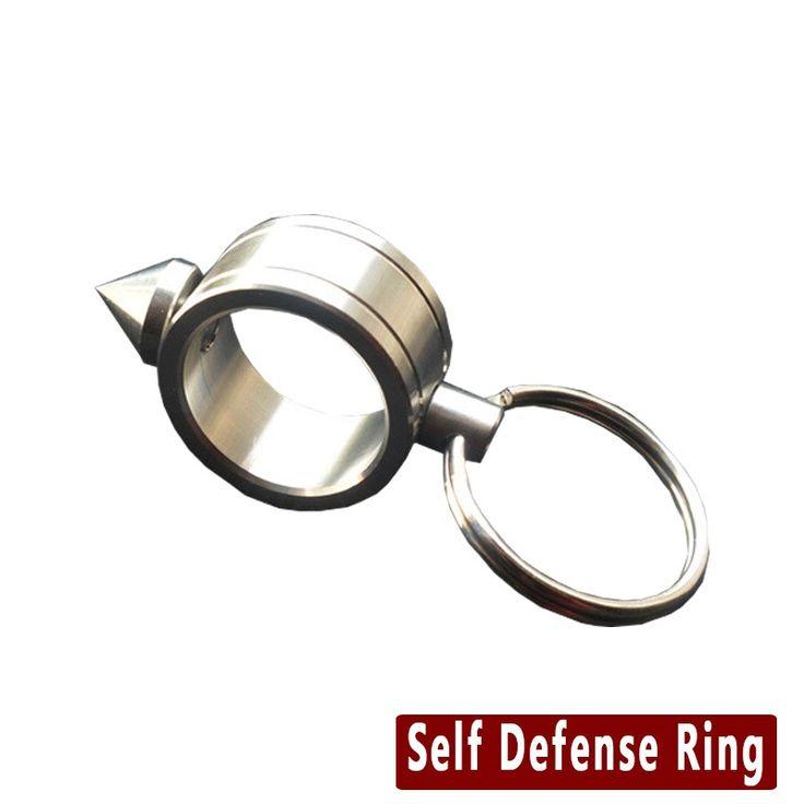EDC Self Defense Supplies Aço Inoxidável Mulheres Anel de Armas de Auto-Defesa Choque Sobrevivência Segurança Dedo do Anel Com Anel chave(China (Mainland))