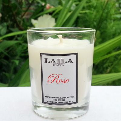 [share]  Made with 100% natural wax and pure essential oils, this rose candle promises to relax and calm your mood.  It produces a soy candle with a scent that will linger in any room for hours.  It is best to burn for between 2-4 hours at a time. To keep the content all natural, we add no colour to our soy candles.  Natural soy wax candles burn much cleaner and longer than conventional paraffin candles allowing for clean air in your room.