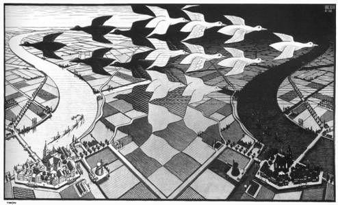 Dit is een asymmetrische compositie omdat, het beeld niet gespiegeld kan worden.
