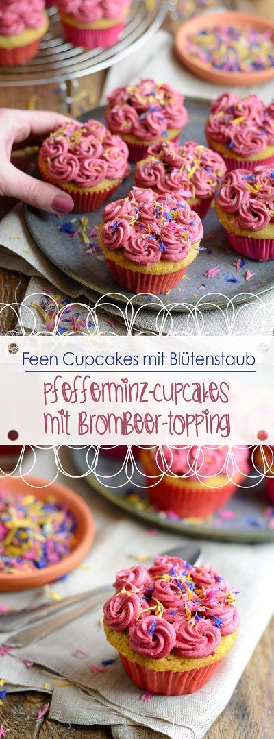 Feen Cupcakes - Pfefferminz-Cupcakes mit Brombeer-Topping /// Fairy Cupcakes - Peppermint cupcakes with blackberry topping