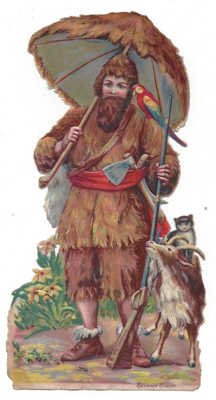 Victorian Die Cut Scrap Huge Robinson Crusoe  picclick.com