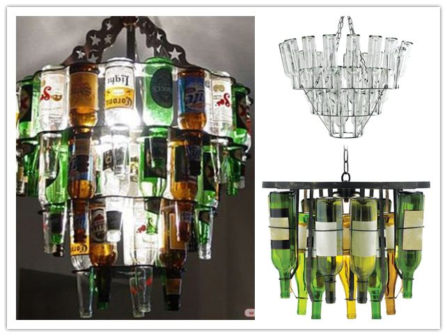 How to make amazing chandelier lighting fixture with beer or wine bottles step by step DIY tutorial instructions, How to, how to do, diy instructions, crafts, do it yourself, diy website, art project ideas