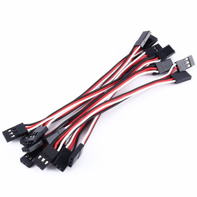Free shipping RC Servo Extension Cord Cable Wire 10pcs/lot 100mm 22AWG JR male to female servo extension cable quadcopter