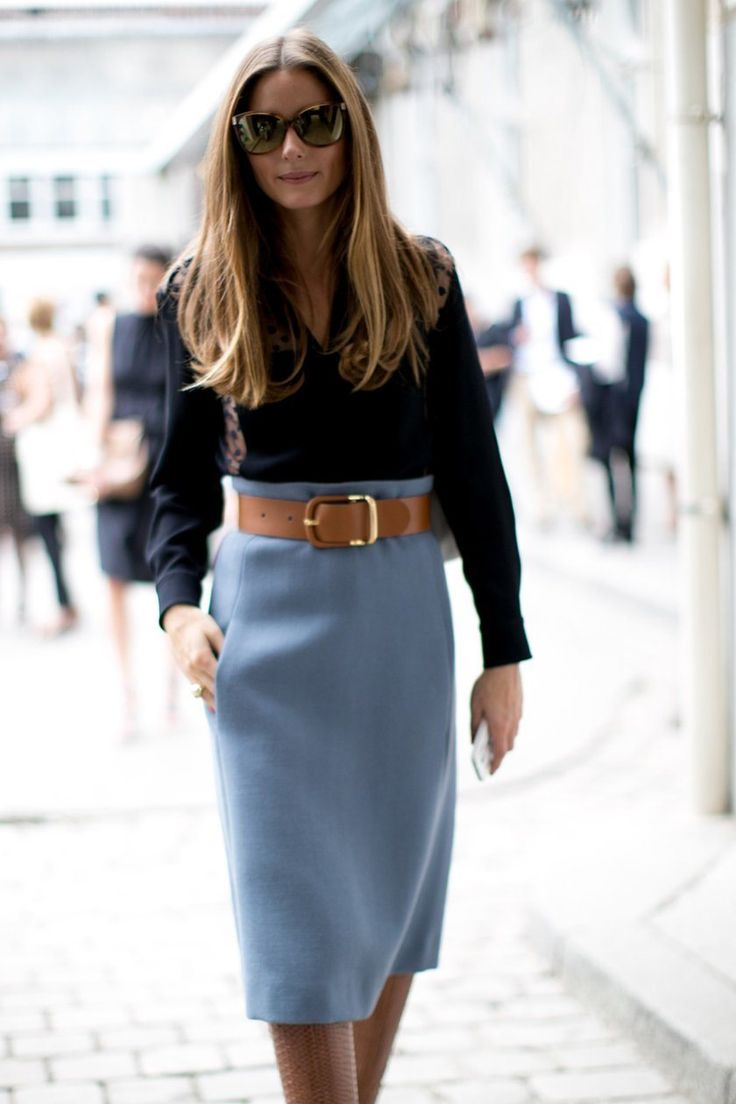 Olivia Palermo in duck egg blue a line wool skirt with saddle belt and boots