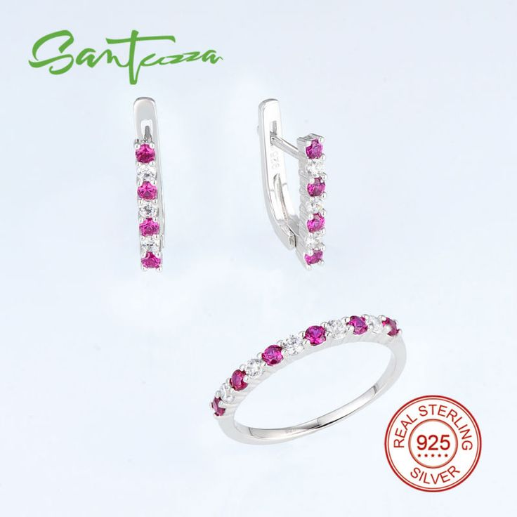Jewelry Sets For Women Created Ruby White Cubic Zircon Diamond Jewelry Set Ring Earrings 925 Sterling Silver Fashion Jewelry Set