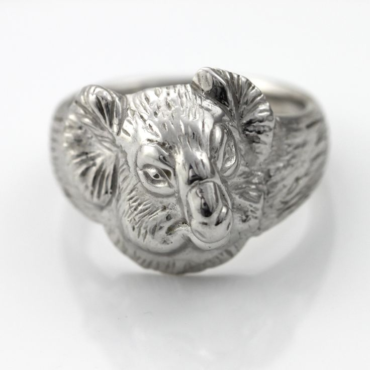 Koala head silver ring large size