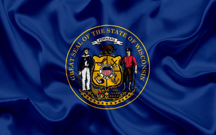 Download wallpapers Wisconsin State Flag, flags of States, flag State of Wisconsin, USA, state Wisconsin, blue silk flag, Wisconsin coat of arms