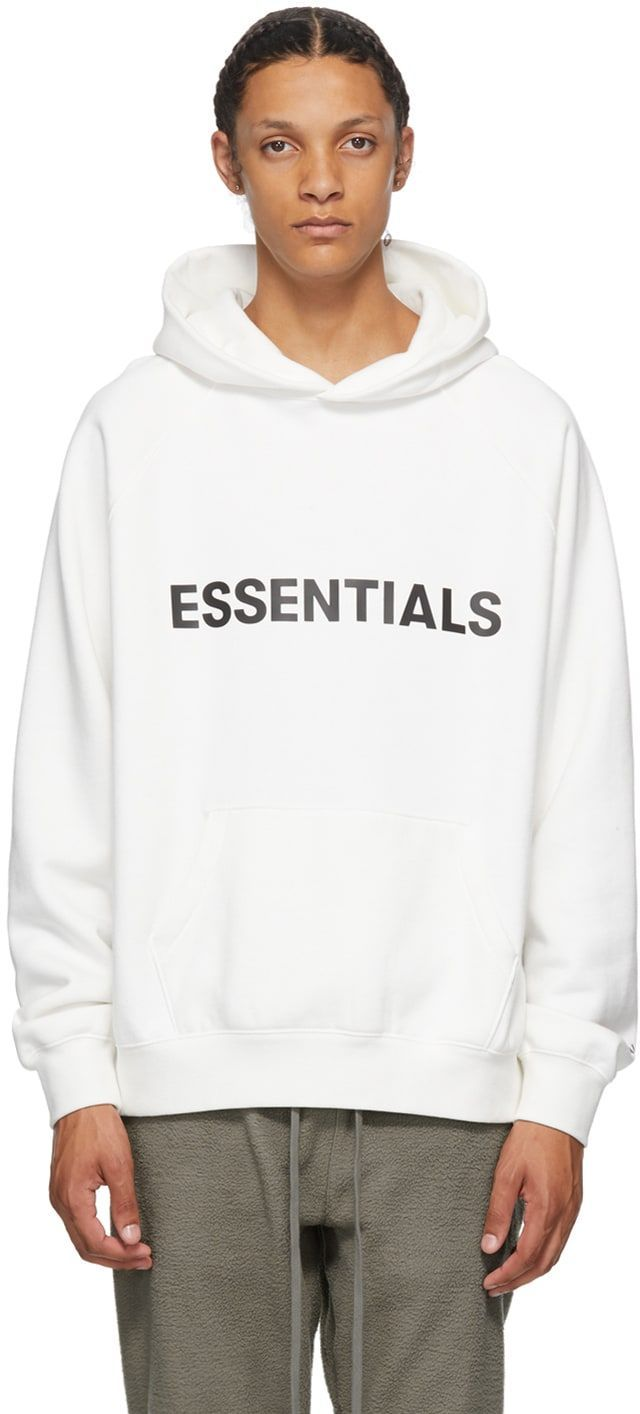 Essentials White Pullover Hoodie Long Sleeve Cotton Blend Fleece Hoodie In White Logo Bonded In Black At Chest Ka Hoodies Pullover Hoodie White Pullovers [ 1414 x 640 Pixel ]