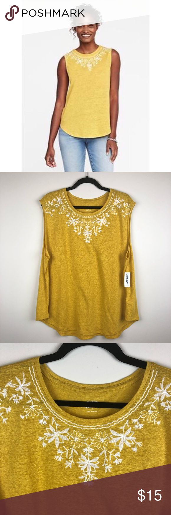 """Old Navy Floral Embroidered Linen Blend Tank Gold Beautiful top by Old Navy. Size XXL. Brand new with tags. Armpit to armpit - 24 1/2"""", length - 29"""". 52% linen, 48% polyester. Machine wash. Rib-knit crew neck. Contrasting embroidered flowers at front yoke. Sleeveless arm openings. Curved hem. Soft, lightweight linen-blend jersey. Old Navy Tops"""