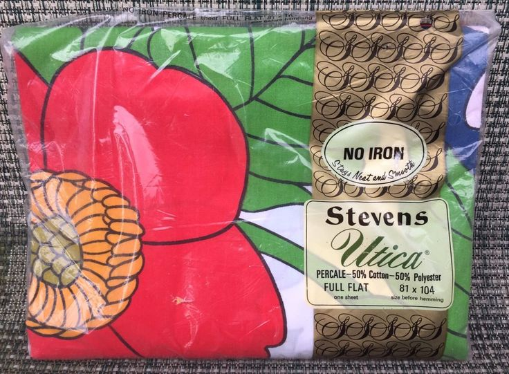nip vintage big red flower full flat sheet floral by utica jp stevens usa