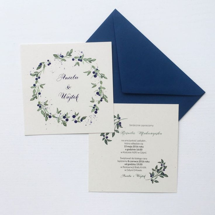 Wedding stationery with blueberries