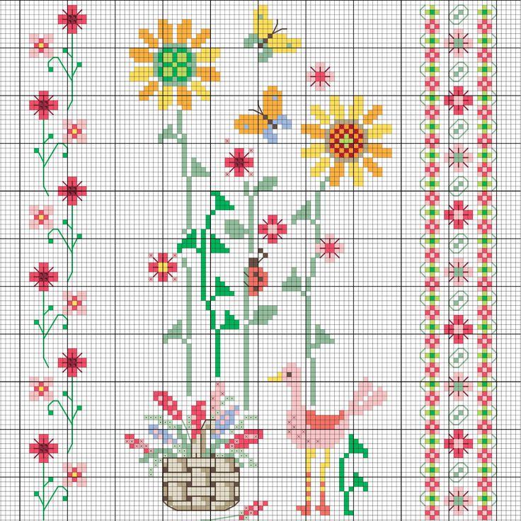 Frühlingshafte Blumen sticken #Sticken #Kreuzstich / #Blume; #Embroidery #Crossstitch / #flower / #ZWEIGART