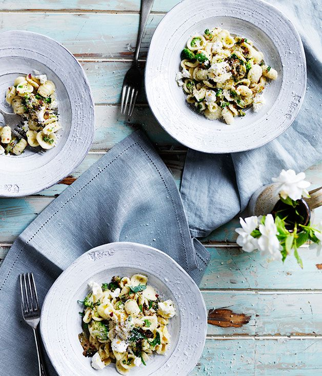 """Orecchiette with broccoli, anchovies and homemade ricotta.  Australian Gourmet Traveller says: """"Broccoli and anchovies are a classic Italian combination. In this case we've mixed deeply caramelised broccoli with finely shaved raw broccoli for contrast - not traditional perhaps, but tasty nonetheless. We've opted to make our own ricotta - and love to use it still warm - but you could use a firm bought version instead."""""""