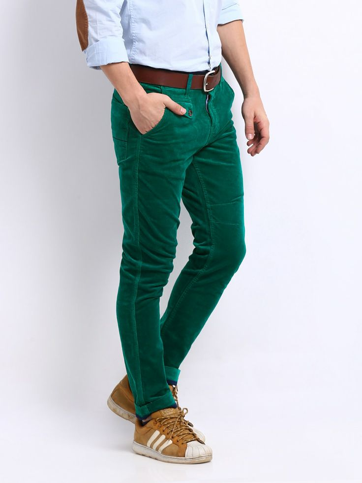United Colors of Benetton Men Green Carrot Fit Corduroy ...