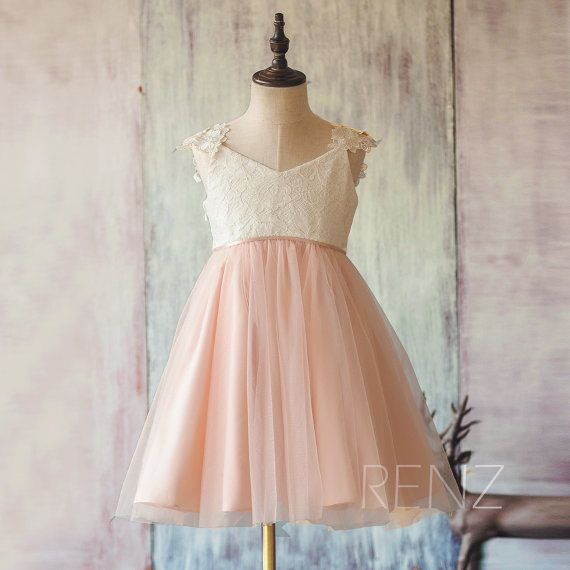 Boho Blush Pink Wedding Dresses 2017 Pretty 3d Flower Lace: 2015 White And Blush Pink Junior Bridesmaid Dress, Lace