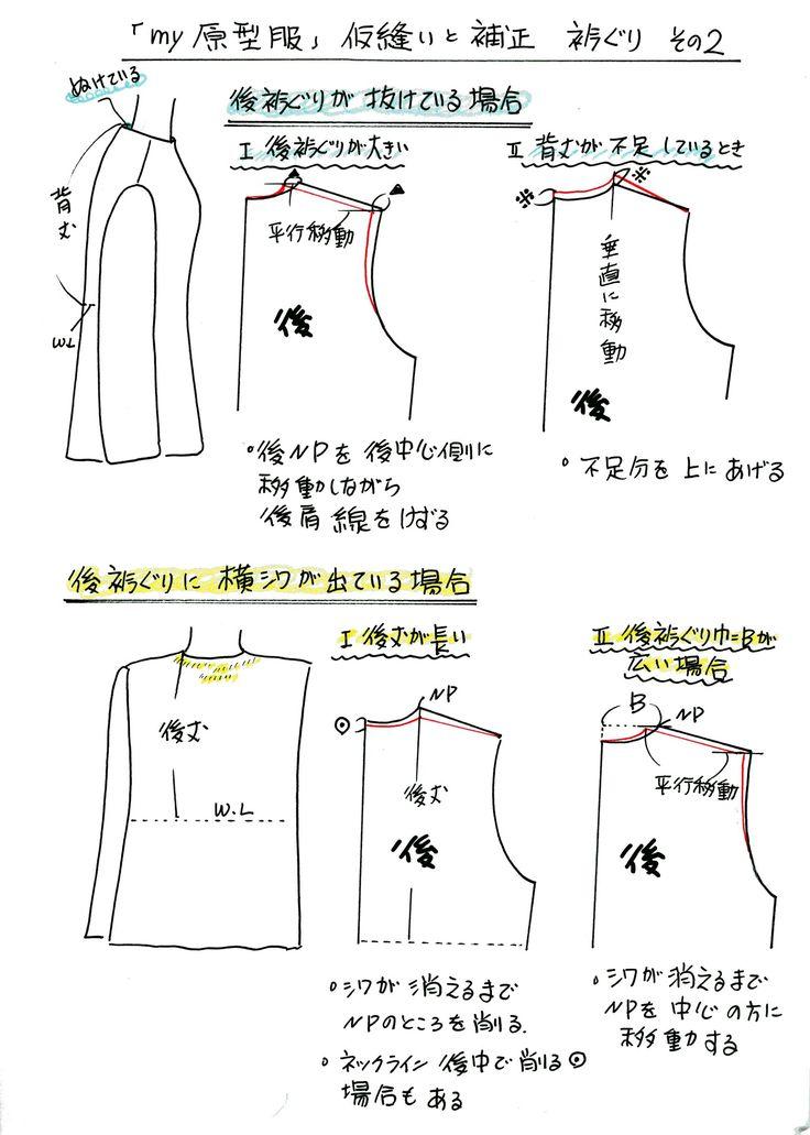 抜き衣紋(ぬきえもん)になっている衿ぐりと後に横シワ登場の場合の補正の仕方はコンナ方法で。明日から「あなたがデザイナー」原型を使って、いろいろなアレンジを...