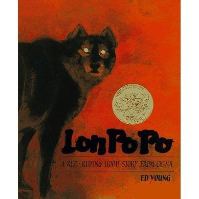 """(S) """"Not for the faint-hearted, Lon Po Po (Grandmother Wolf), is a tale of a menacing danger and courage....(Young's) command of page composi..."""
