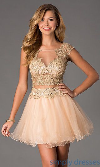 Short Two Piece Illusion Prom Dress by Dave and Johnny at SimplyDresses.com