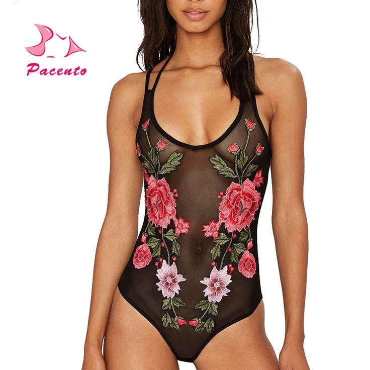 11.66$  Watch now - http://ali4ma.shopchina.info/1/go.php?t=32805420240 - Embroidery Print Monokini Sexy Mesh One-piece Swimsuit Swimwear Large Size Female 2017 Floral Bathing Suits Women Plavky XXL XL  #buyonlinewebsite