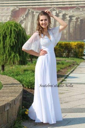 Wedding Dresses White Boho Dress - Bílé splývavé svatební šaty širokými  rukávy -Svatební studio Nella d682275666