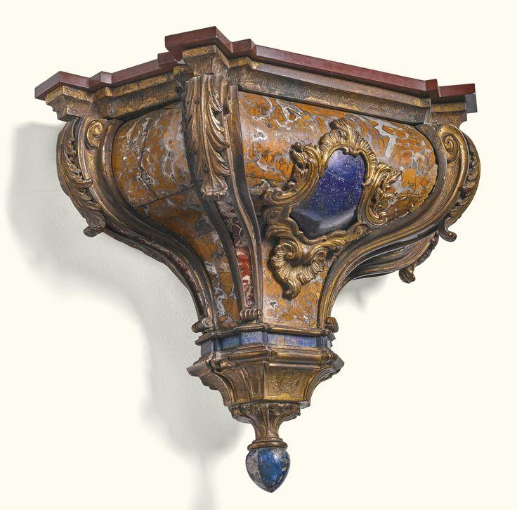 An Italian gilt-bronze-mounted lapis lazzuli and diaspro bracket, possibly Sicilian, circa 1730