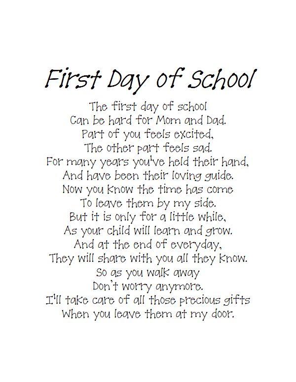 Back To School Poempdf School School Poems About School Back