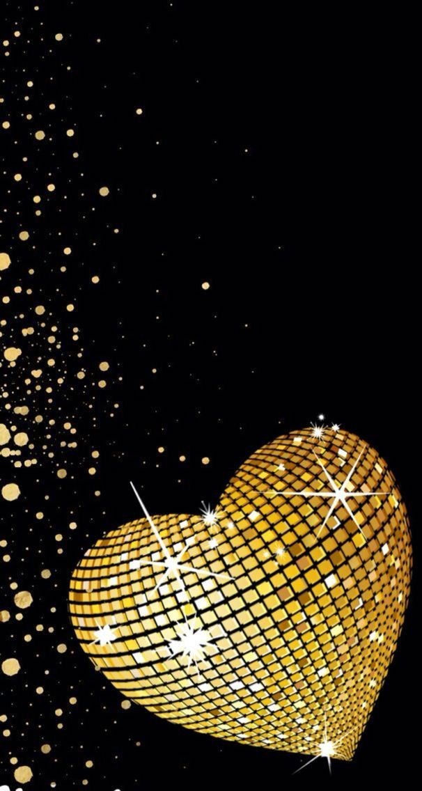 Sparkly Black And Gold Champagne Bubbles Wallpaper